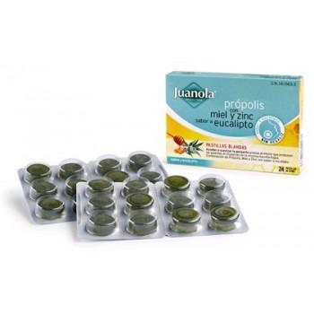 JUANOLA Própolis miel y zinc sabor eucalipto pastilla blanda 24 uds